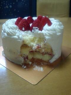 無残な姿のケーキ
